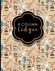 8 Column Ledger: Ledger Books, Accounting Ledger Sheets, General Ledger Accounting Book, Cute Ancient Egypt Pyramids Cover, 8.5 x 11, 1 Cover Image