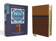 NIV Study Bible, Fully Revised Edition, Personal Size, Leathersoft, Brown/Blue, Red Letter, Thumb Indexed, Comfort Print Cover Image