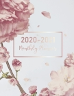 2020-2021 Monthly Planner: Marble Flower Cover - 2 Year Calendar 2020-2021 Monthly - 24 Months Agenda Planner wtth Holiday - Academic Schedule Or Cover Image