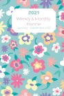 2021 Planner Turquoise Floral Cover: 2021 Daily & Monthly Planner with Tabs, Important Contacts List, 365 Days Planner Jan 2021 - Dec 2021 Calendar, 6 Cover Image