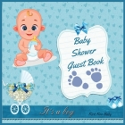 It's a Boy! Baby Shower Guest Book: Amazing Color Interior with 100 Page and 8.5 x 8.5 inch - Blue Strollers with Flower Cover Image