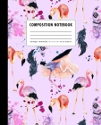 Composition Notebook: Lavender + Hot Pink Watercolor Flamingo Feather Pattern Cover Wide Ruled Cover Image