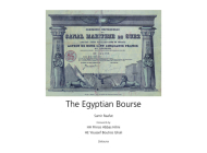 The Egyptian Bourse Cover Image