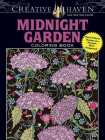 Creative Haven Midnight Garden Coloring Book: Heart & Flower Designs on a Dramatic Black Background (Adult Coloring) Cover Image