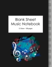 Blank Sheet Music Notebook: 100 Large Pages - 12 Stave Cover Image