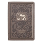 KJV Bible Thinline Brown with Flowers Cover Image