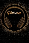 Flamenco Notebook: Flamenco Golden Headphones Music Journal 6 x 9 inch 120 lined pages gift Cover Image