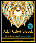 Stress Relieving Animal Designs: Adult Coloring Book, Celebration Edition Cover Image