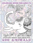 Zoo Animals - Coloring Book for adults - Hippopotamus, Proboscis, Iguana, Wolves, other Cover Image