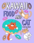 Kawaii Food and Cat Coloring Book Cover Image
