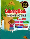 Coloring Book For Boys And Girls: Fun With Super Hero, Unicorn, Micky Mouse, Puppy, FIsh animal And More-Relaxing Coloring Pages For Age 4-12-100 Page Cover Image