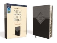 Niv, Premium Gift Bible, Leathersoft, Black/Gray, Red Letter Edition, Indexed, Comfort Print Cover Image