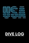 USA Dive Log: Scuba Diver Pro Logbook with World Map on every page. Cover with the flag of United States. Cover Image