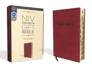 Niv, Premium Gift Bible, Leathersoft, Burgundy, Red Letter Edition, Indexed, Comfort Print Cover Image