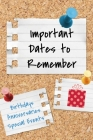 Important Dates to Remember: Birthdays, Anniversaries, Special Events: Record Special Dates Reminder Book Month-by-Month Organizer Cover Image