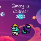 Among Us Calendar 2021: Game 2021 Wall Calendar among us characters with galaxy background -8.5x8.5 in - calendar 2021- cute background-Glossy Cover Image