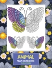 Adult Coloring Book Floral Design Animal Cover Image