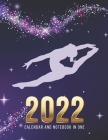 2022 Calendar and Notebook In One: Purple Gymnast Gymnastics Art / 8.5x11 Monthly Planner with Note Paper Combo / Large Organizer With Whole Month on Cover Image