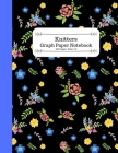 Knitters Graph Paper Notebook: A Black Knitting Pattern Book with Pretty Floral Print Cover Image