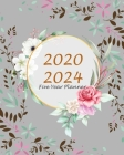 Five Year Planner 2020-2024: Gray Floral, 60 Months Appointment Calendar, Agenda Schedule Organizer Logbook, Business Planners and Journal With Hol Cover Image