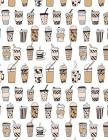 Coffee Notebook - College Ruled: 200 Pages 8.5 x 11 Allover Coffee Latte Pattern School Student Teacher College Cover Image