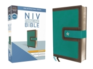 NIV, Thinline Bible, Compact, Imitation Leather, Blue/Brown, Red Letter Edition Cover Image