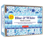Blue & White Note Cards - 24 Cards: 24 Blank Cards in 8 Unique Designs with 25 Patterned Envelopes Cover Image