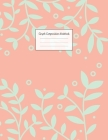 Graph Composition Notebook: Grid Paper Notebook: Large Size 8.5x11 Inches, 110 pages. Notebook Journal: Coral Aqua Flowers Workbook for Preschoole Cover Image