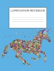 Composition Book: Cute Mosaic Multicolored Unicorn Girls Elementary School Wide Ruled 120 Pages Cover Image