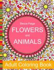Flowers and Animals Adult Coloring Book Cover Image