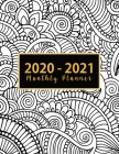 2020-2021 Monthly Planner: jan-dec 2020 planner - Black and White Drawing Cover - 2 Year Calendar 2020-2021 Monthly - 24 Months Agenda Planner wi Cover Image