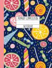 Primary Composition Notebook: A Candy Composition Notebook For Girls Grades K-2 Featuring Handwriting Lines - Sweet Shoppe - Navy & Pink Cover Image