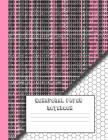 Hexagonal paper notebook: Pink computer glitch and binary code, large 8.5 x 11