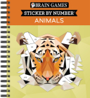 Brain Games - Sticker by Number: Animals - 2 Books in 1 (42 Images to Sticker) Cover Image
