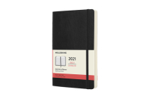 Moleskine 2021 Daily Planner, 12M, Large, Black, Soft Cover (5 x 8.25) Cover Image