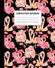 Composition Notebook: Hot Pink + Black Watercolor Flamingo Love Birds Pattern Cover - Wide Ruled Cover Image