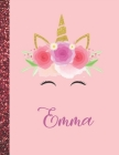 Emma: Emma Marble Size Unicorn SketchBook Personalized White Paper for Girls and Kids to Drawing and Sketching Doodle Taking Cover Image