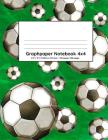 Graphpaper Notebook 4x4: Soccer green design 100 pages of graph paper with bigger squares for younger students Cover Image
