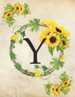 Y: Monogram Initial W Notebook for Women and Girls- 8.5