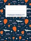 Graphpaper Notebook 4x4: Transport airplanes design navy background design 100 pages of graph paper with bigger squares for younger students Cover Image