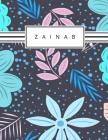 Zainab: Personalized blue flowers sketchbook with name: 120 Pages Cover Image