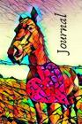 Colorful Romance Heart & Horse Pretty Blank Lined Journal for daily thoughts Notebook Cover Image