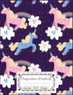 Composition Notebooks: Pink Unicorn & Rainbow: Composition Notebooks Wide Ruled 8.5 x 11