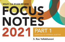 Wiley CIA Exam Review 2021 Focus Notes, Part 1: Essentials of Internal Auditing Cover Image