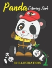 Panda Coloring Book: Cute Panda Coloring Book For Kids. Beautiful 32 Illustrations To Color. Birthday, Christmas, Halloween, Thanksgiving, Cover Image