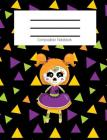 Composition Notebook: Cute Sugar Skull Day of the Dead Doll/Dia de los Muertos /Fall/Halloween Themed Notebook For Girls - Wide Ruled Notebo Cover Image