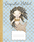 Composition Notebook: Mermaid Composition Notebook Glitter Design, Black Hair Mermaid, 100 pages 7.5 x 9.25 Cover Image