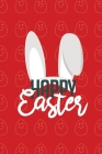 Happy Easter II Notebook, Blank Write-in Journal, Dotted Lines, Wide Ruled, Medium (A5) 6 x 9 In (Red) Cover Image