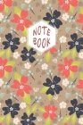Notebook: Lined Journal/Notebook/Diary - Red, Black and White Flowers Pattern Cover - 6x9 inch/100 Pages Cover Image