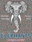 Livres à colorier - Niveau facile - Animal sauvage - Éléphants Cover Image